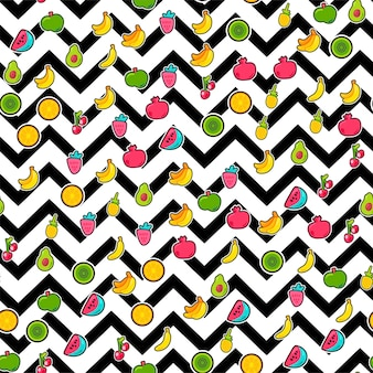 Painted berries summer fruits mix seamless pattern. bright pineapple, orange on zigzag backdrop. cherries kiwi and pomegranate with black dotted line. kid print. cartoon flat vector illustration