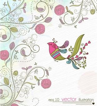 Painted bird floral design background