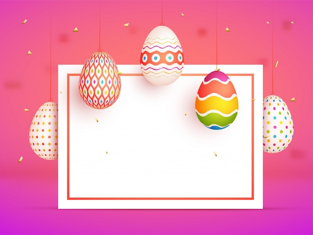 Painted colorful eggs and space for your text