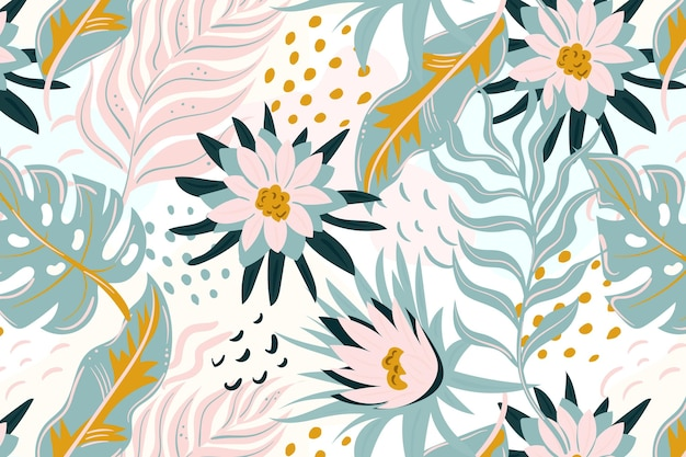 Painted colorful exotic floral pattern