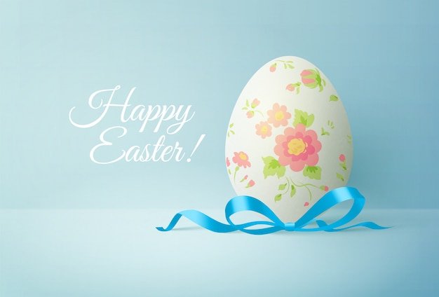 Painted easter egg with blue bow. greeting card with text. realistic   illustration.