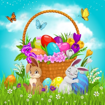 Painted eggs and bunnies on green lawn with flying butterflies under cloudy sky