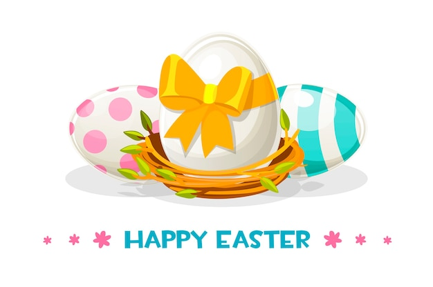 巣の中の幸せなイースターのために塗られた卵
