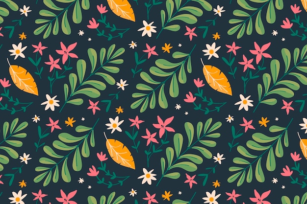 Painted exotic floral pattern background