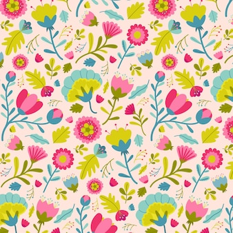 Painted exotic floral pattern