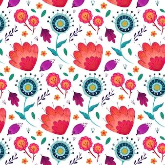 그린 된 이국적인 꽃 패턴