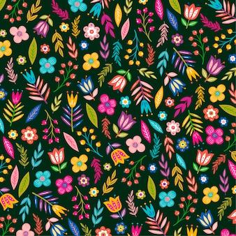 塗られたエキゾチックな花と葉のパターン