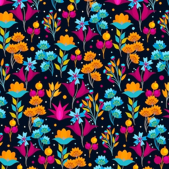 Painted exotic flowers and leaves pattern