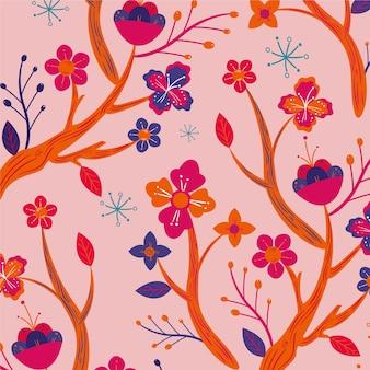 그린 된 이국적인 나뭇잎과 꽃 패턴