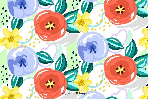Painted floral background with abstract shapes