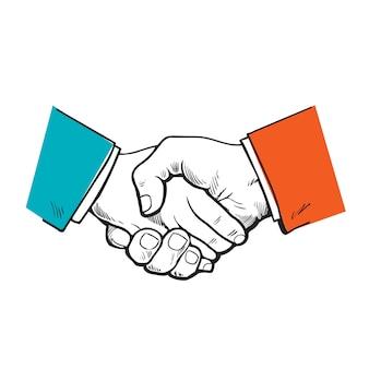 塗られた握手。パートナーシップをベクトル化します。友情、パートナーシップ、そして協力の象徴。ハンドシェイクをスケッチします。強力なハンドシェイクビジネスと握手。人々、企業の協力。