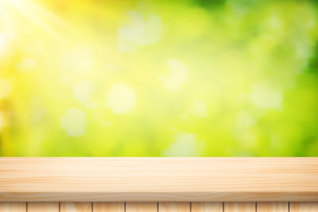 Painted illustration vector wood table floor and beautiful natural green leaf abstract blurred bokeh light background.