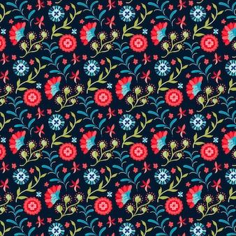 그린 된 나뭇잎과 이국적인 꽃 패턴