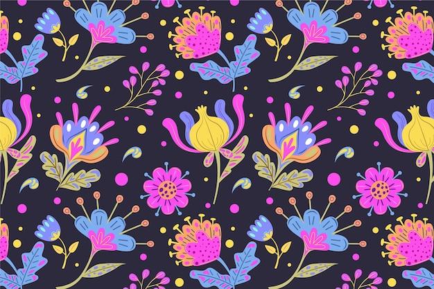 그린 된 나뭇잎과 열대 꽃 패턴