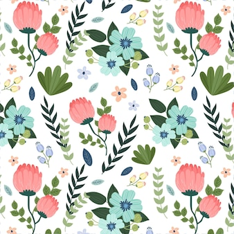 Painted leaves and exotic flowers pattern