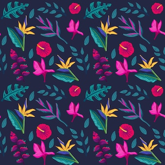 Painted leaves and tropical flowers pattern