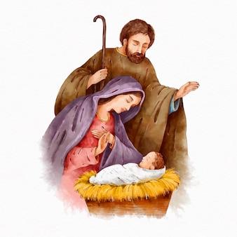水彩で描かれたキリスト降誕のシーン
