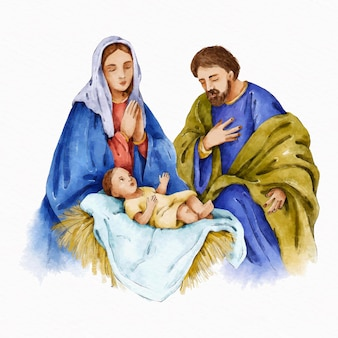 Painted nativity scene in watercolor