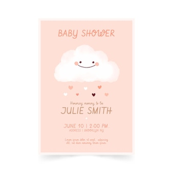 Invito dell'acquazzone di bambino di chuva de amor grazioso dipinto