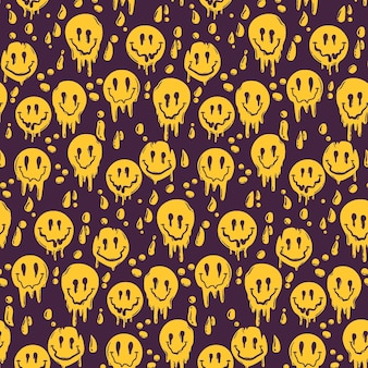 Painted psycho distorted emoticon pattern template