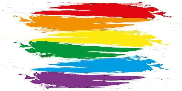 Окрашенный радужный флаг гордости лгбт, изолированные на белом фоне. флаг с шестью цветными полосами: красный, оранжевый, желтый, зеленый, синий и фиолетовый.