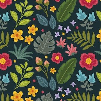 그린 된 열대 꽃 패턴