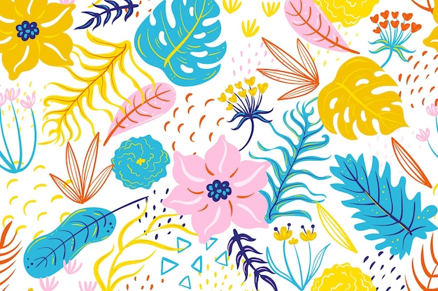 Painted tropical floral pattern