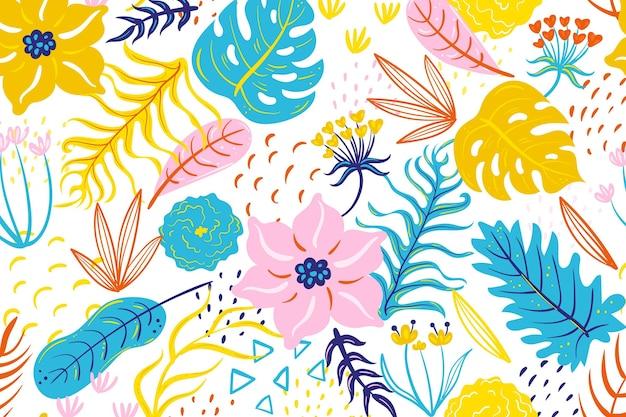 Окрашенный тропический цветочный узор
