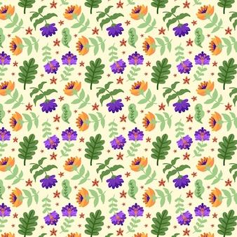 塗られた熱帯の花柄