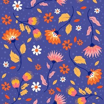 그린 된 열대 잎과 꽃 패턴