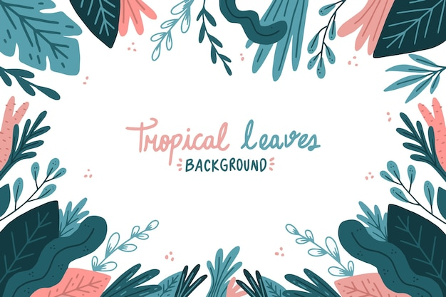 Painted tropical leaves background