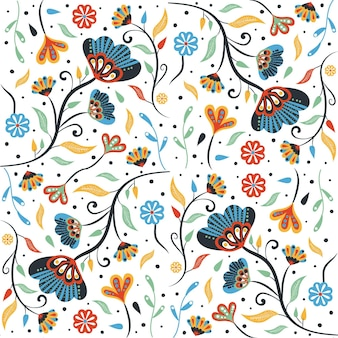 Painted tropical leaves and flowers pattern