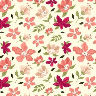 花と葉で描かれた熱帯のパターン