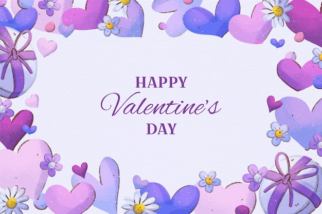 水彩で描かれたバレンタインデーの背景