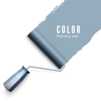 塗られた壁とペイントローラー。ペイントローラーブラシ。ローラーでペイントするときのカラーペイントテクスチャ。白い背景の上の図