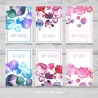 Painted watercolor birthday card collection