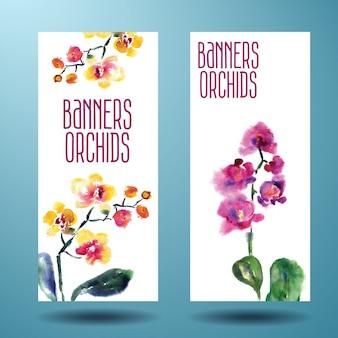 난초와 그린 수채화 카드