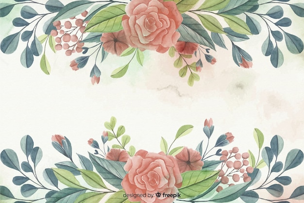 Painted watercolor floral frame background