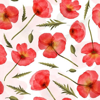 Painted watercolor pattern with red flowers