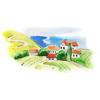 塗られた水彩画のブドウ園の風景
