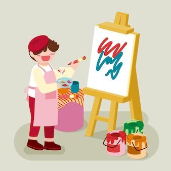 Мальчик-художник держит цветовую палитру и использует кисть для рисования на холсте, раме на штативе, стиль персонажа из мультфильма