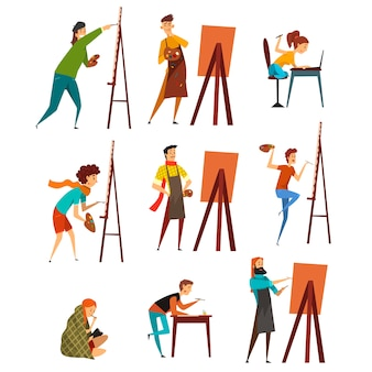 Painter characters illustrations on a white background