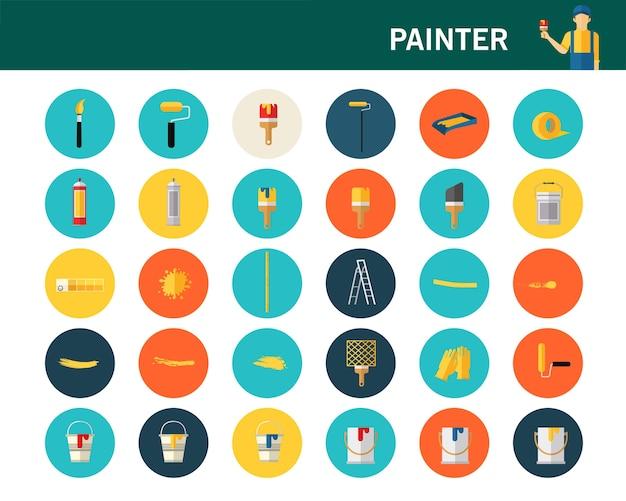 Painter concept flat icons.