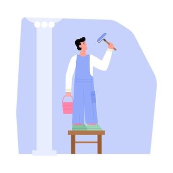 Художник, украшающий стены красителем и роликом с плоской векторной иллюстрацией