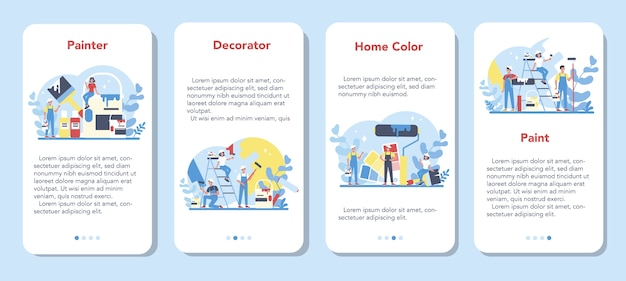 Painter, decorator mobile application banner set. people in the uniform paint the wall with paint roller. upgrade and repair process concept. person on the work.