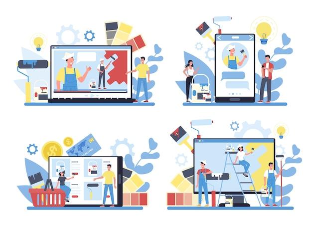 異なるデバイスコンセプトセットのペインター、デコレータオンラインサービスまたはプラットフォーム。オンラインワークショップ、コンサルテーション、またはビデオチュートリアル。アップグレードと修復のプロセスの概念。