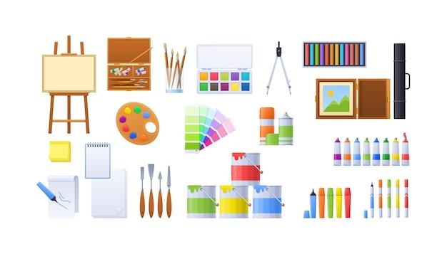 화가 장비 세트입니다. 예술적 아마추어 또는 전문가를 위한 밝은 페인팅 도구입니다. 아티스트는 문구 수채화, 팔레트, 페인트 브러시, 이젤, 폴더, 종이 메모장, 분배기 만화 벡터를 제공합니다.