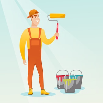 Painter holding paint roller vector illustration.
