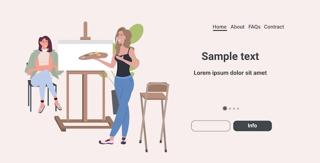 Горизонтальный полная длина художник холдинга палитра женщина художник стоя перед станковой живописью портрет девушки модели сидя на стуле и представляя художественное творчество концепция хобби