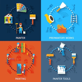 Painter icons composition flat